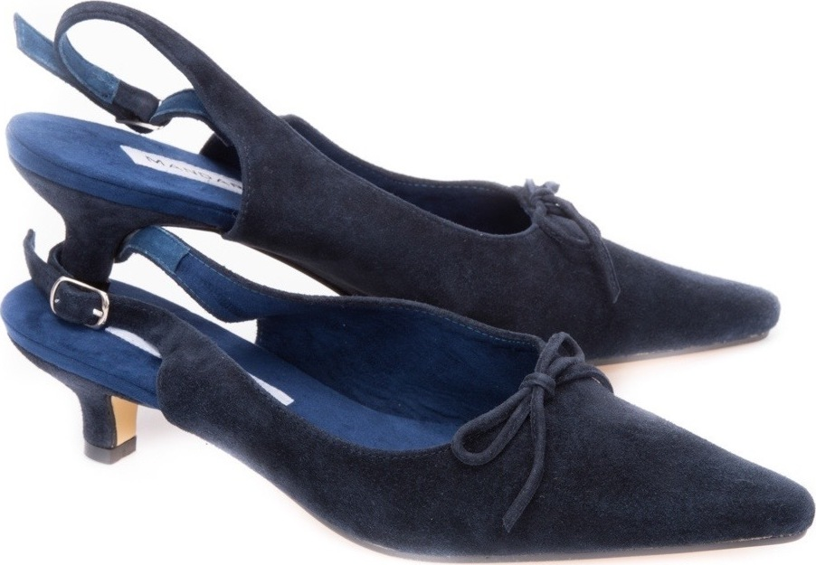 Navy Suede Kitten Slingbacks