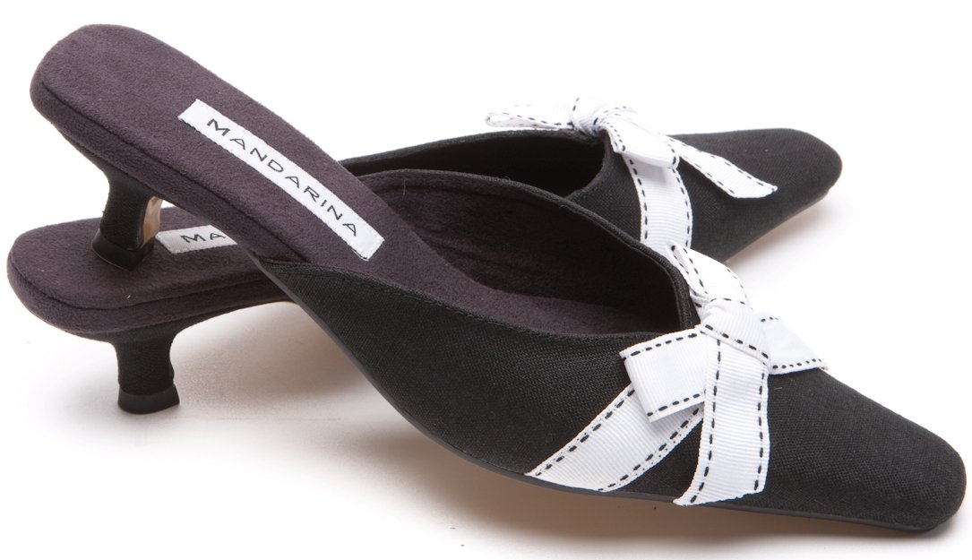Black & White Bow Mules