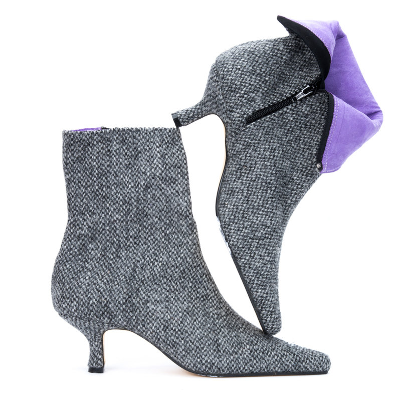 Charcoal Speckle Harris Tweed Pixie Boots