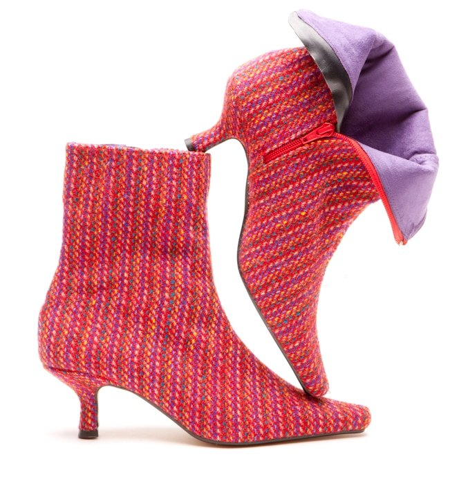 Bright Stripe Tweed Boots