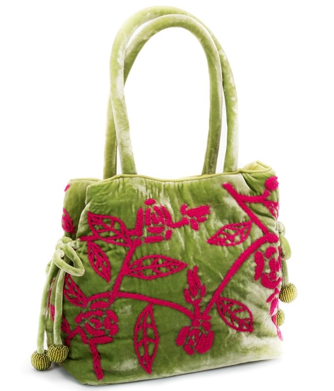 Chartreuse Embroidered Velvet Handbag