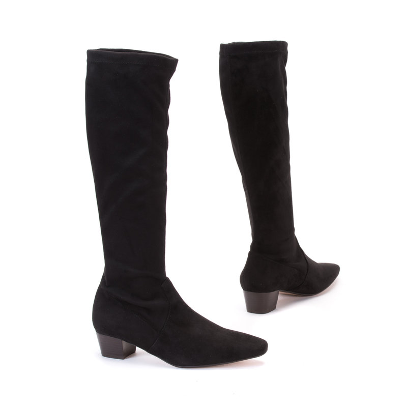 Classic Black Stretch Suede Long Boots