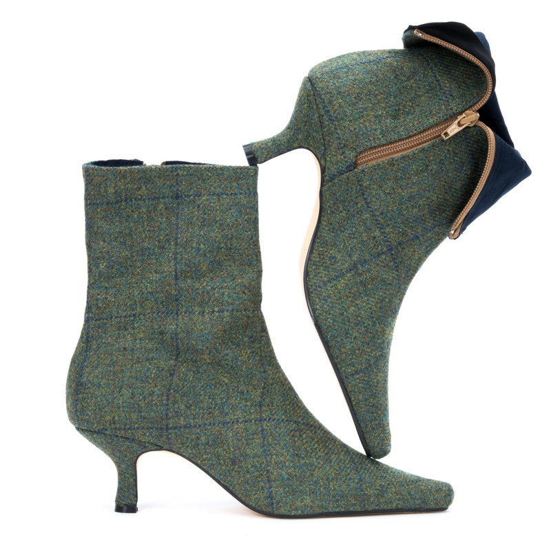 Green & Blue Lovat Check Ankle Boots