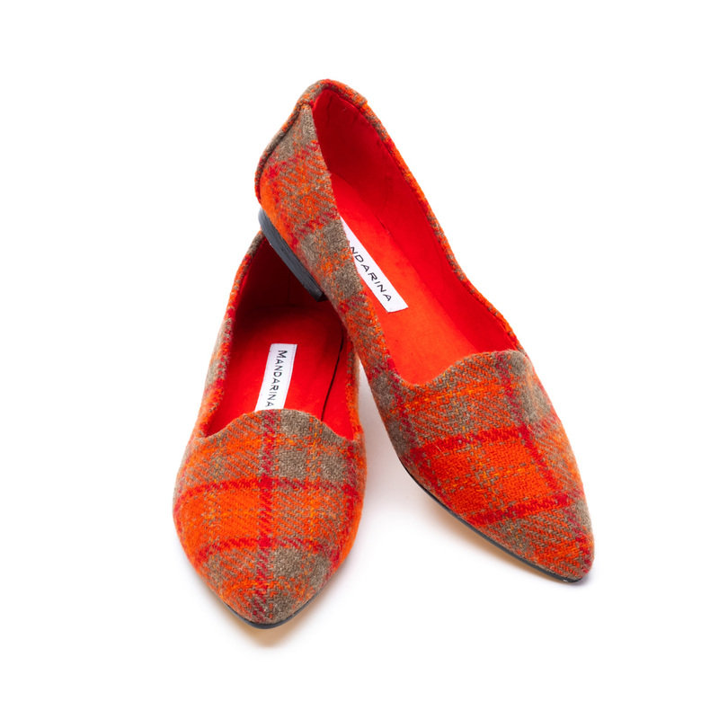 Mandarina Orange Harris Tweed Flats