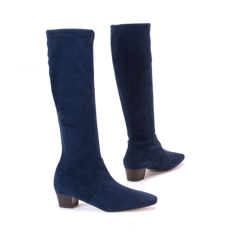 Navy Stretch Suede Long Boots Perfect Wear Mandarina Shoes