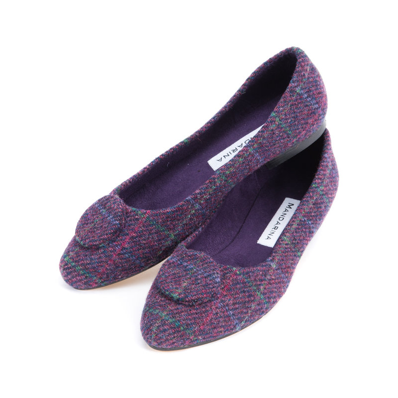 Purple Mini Check Harris Tweed Button Pumps