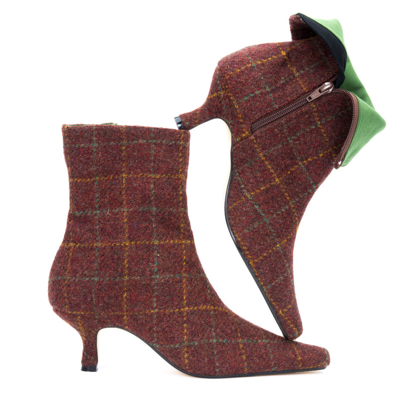 Russet Check Harris Tweed Ankle Boots