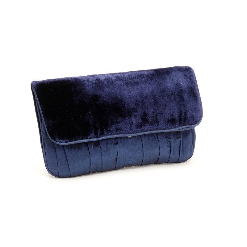 navy taffeta  u0026 velvet clutch bag