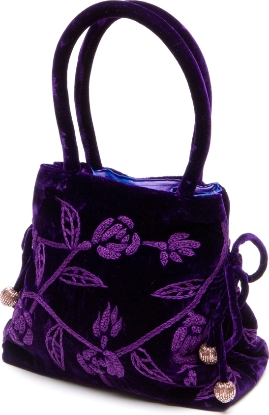 Purple Embroidered Velvet Handbag